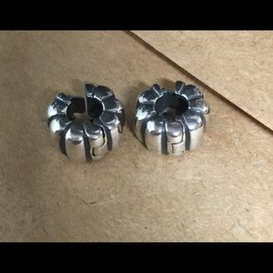 Authentic Pandora Sterling Silver Ribbed Clips